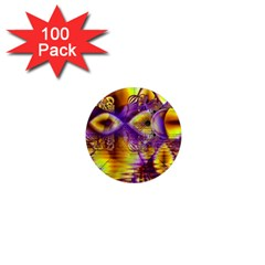 Golden Violet Crystal Palace, Abstract Cosmic Explosion 1  Mini Button Magnet (100 pack)