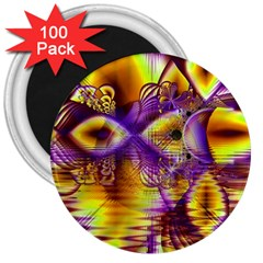 Golden Violet Crystal Palace, Abstract Cosmic Explosion 3  Button Magnet (100 Pack)