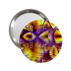 Golden Violet Crystal Palace, Abstract Cosmic Explosion Handbag Mirror (2.25 )