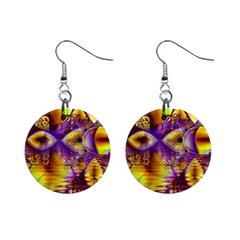 Golden Violet Crystal Palace, Abstract Cosmic Explosion Mini Button Earrings