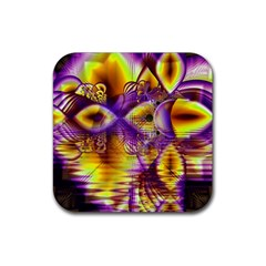 Golden Violet Crystal Palace, Abstract Cosmic Explosion Drink Coaster (square)