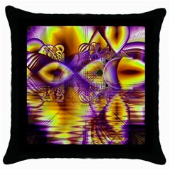 Golden Violet Crystal Palace, Abstract Cosmic Explosion Black Throw Pillow Case