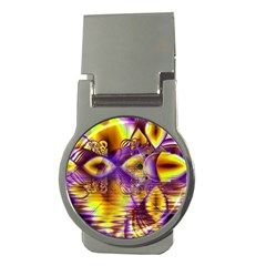 Golden Violet Crystal Palace, Abstract Cosmic Explosion Money Clip (Round)