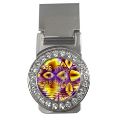 Golden Violet Crystal Palace, Abstract Cosmic Explosion Money Clip (CZ)