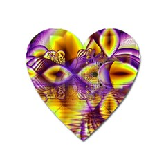 Golden Violet Crystal Palace, Abstract Cosmic Explosion Magnet (Heart)