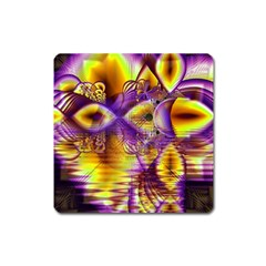 Golden Violet Crystal Palace, Abstract Cosmic Explosion Magnet (Square)