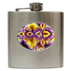 Golden Violet Crystal Palace, Abstract Cosmic Explosion Hip Flask