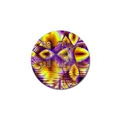 Golden Violet Crystal Palace, Abstract Cosmic Explosion Golf Ball Marker