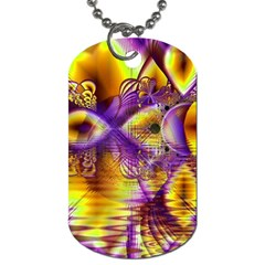 Golden Violet Crystal Palace, Abstract Cosmic Explosion Dog Tag (Two-sided)