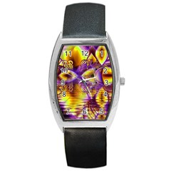 Golden Violet Crystal Palace, Abstract Cosmic Explosion Tonneau Leather Watch