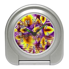 Golden Violet Crystal Palace, Abstract Cosmic Explosion Desk Alarm Clock