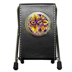 Golden Violet Crystal Palace, Abstract Cosmic Explosion Stationery Holder Clock