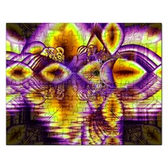 Golden Violet Crystal Palace, Abstract Cosmic Explosion Jigsaw Puzzle (rectangle)