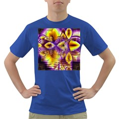 Golden Violet Crystal Palace, Abstract Cosmic Explosion Men s T-shirt (Colored)