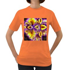 Golden Violet Crystal Palace, Abstract Cosmic Explosion Women s T-shirt (Colored)