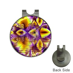 Golden Violet Crystal Palace, Abstract Cosmic Explosion Hat Clip With Golf Ball Marker
