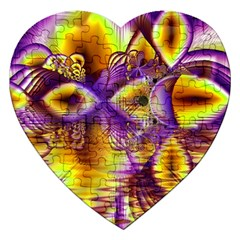Golden Violet Crystal Palace, Abstract Cosmic Explosion Jigsaw Puzzle (Heart)