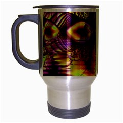 Golden Violet Crystal Palace, Abstract Cosmic Explosion Travel Mug (Silver Gray)