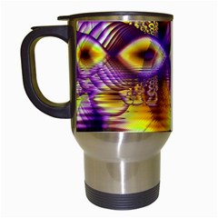 Golden Violet Crystal Palace, Abstract Cosmic Explosion Travel Mug (white)