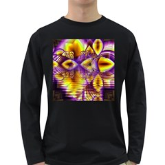 Golden Violet Crystal Palace, Abstract Cosmic Explosion Men s Long Sleeve T-shirt (Dark Colored)