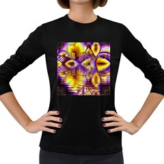 Golden Violet Crystal Palace, Abstract Cosmic Explosion Women s Long Sleeve T-shirt (Dark Colored)