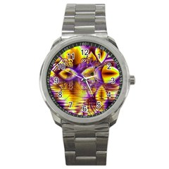 Golden Violet Crystal Palace, Abstract Cosmic Explosion Sport Metal Watch