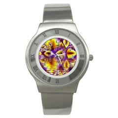 Golden Violet Crystal Palace, Abstract Cosmic Explosion Stainless Steel Watch (Slim)