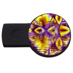 Golden Violet Crystal Palace, Abstract Cosmic Explosion 4GB USB Flash Drive (Round)