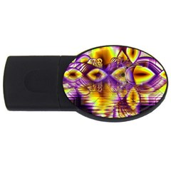 Golden Violet Crystal Palace, Abstract Cosmic Explosion 4GB USB Flash Drive (Oval)