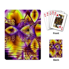 Golden Violet Crystal Palace, Abstract Cosmic Explosion Playing Cards Single Design