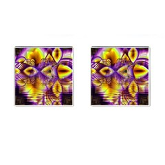Golden Violet Crystal Palace, Abstract Cosmic Explosion Cufflinks (square)