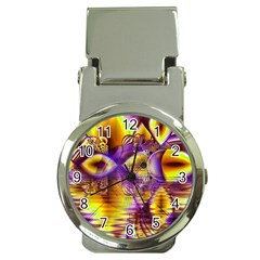 Golden Violet Crystal Palace, Abstract Cosmic Explosion Money Clip with Watch