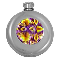 Golden Violet Crystal Palace, Abstract Cosmic Explosion Hip Flask (Round)