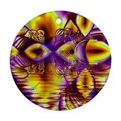 Golden Violet Crystal Palace, Abstract Cosmic Explosion Round Ornament (Two Sides)