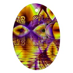 Golden Violet Crystal Palace, Abstract Cosmic Explosion Oval Ornament (Two Sides)