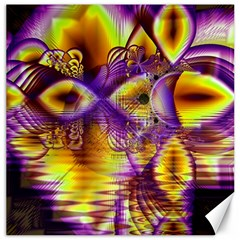 Golden Violet Crystal Palace, Abstract Cosmic Explosion Canvas 16  x 16  (Unframed)