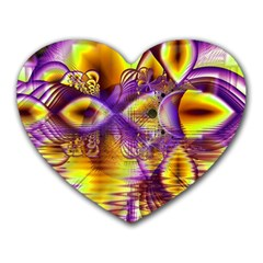 Golden Violet Crystal Palace, Abstract Cosmic Explosion Mouse Pad (Heart)