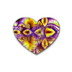 Golden Violet Crystal Palace, Abstract Cosmic Explosion Drink Coasters (Heart)