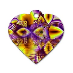 Golden Violet Crystal Palace, Abstract Cosmic Explosion Dog Tag Heart (One Sided)
