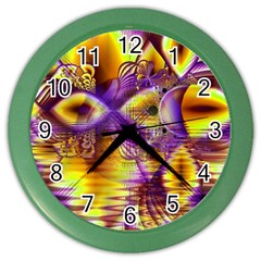 Golden Violet Crystal Palace, Abstract Cosmic Explosion Wall Clock (Color)
