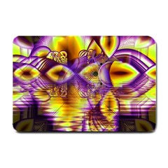 Golden Violet Crystal Palace, Abstract Cosmic Explosion Small Door Mat