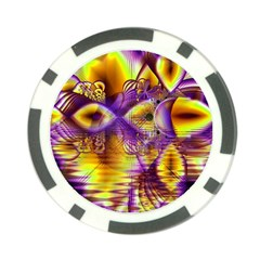 Golden Violet Crystal Palace, Abstract Cosmic Explosion Poker Chip