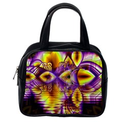 Golden Violet Crystal Palace, Abstract Cosmic Explosion Classic Handbag (one Side)