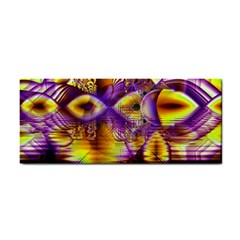 Golden Violet Crystal Palace, Abstract Cosmic Explosion Hand Towel