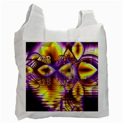 Golden Violet Crystal Palace, Abstract Cosmic Explosion White Reusable Bag (Two Sides)