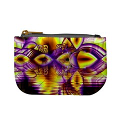 Golden Violet Crystal Palace, Abstract Cosmic Explosion Coin Change Purse