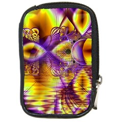 Golden Violet Crystal Palace, Abstract Cosmic Explosion Compact Camera Leather Case