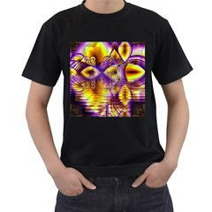 Golden Violet Crystal Palace, Abstract Cosmic Explosion Men s T-shirt (Black)