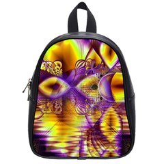 Golden Violet Crystal Palace, Abstract Cosmic Explosion School Bag (small)
