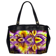 Golden Violet Crystal Palace, Abstract Cosmic Explosion Oversize Office Handbag (two Sides)